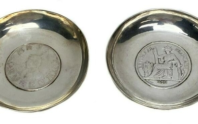 2 Silver International Inset Trade Coins c1900