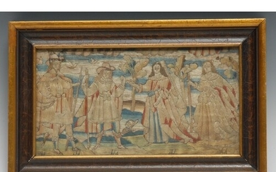 A 17th century needlework picture, stitched in silk with a d...
