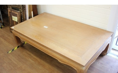 A 20th century Chinese limed teak coffee table, 139cm x 78cm...