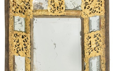 A Baroque wall mirror, with gilt and openworked brass fittings, 17th/18thC, 62 x 66 cm