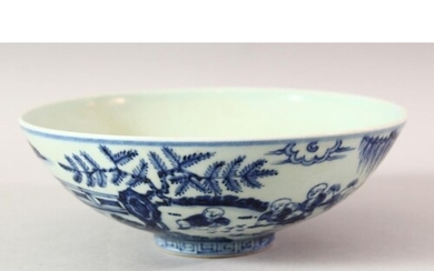 A CHINESE BLUE AND WHITE PORCELAIN BOWL, decorated with chil...