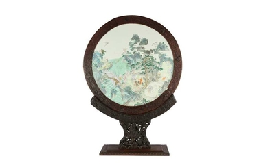 A CHINESE FAMILLE ROSE CIRCULAR 'EIGHT IMMORTALS' PANEL.