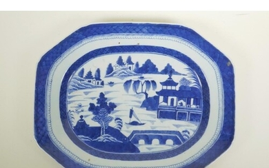 A Chinese blue and white porcelain meat dish with riverside ...