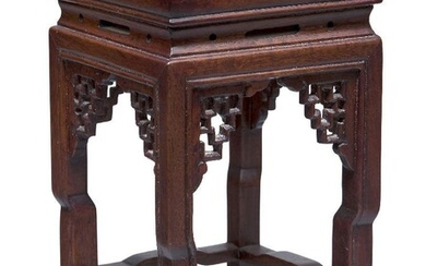 A Chinese hardwood square vase stand, 20th century, with pierced geometric spandrels and square stretchered legs, 16.5cm high