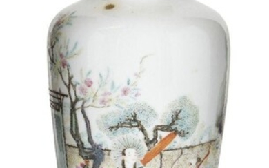 A Chinese porcelain famille rose vase, Republic period, painted with figures in a garden beneath a flowering prunus tree, apocryphal iron-red enamel six-character Qianlong seal mark to the base, 22cm high