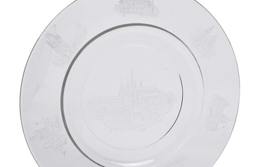 A Czech clear glass and engraved topographical charger with prominent Prague landmarks