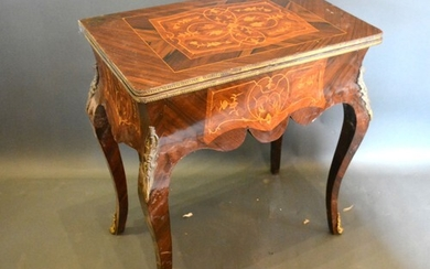 A French inlaid and gilt metal mounted card table, the hinge...