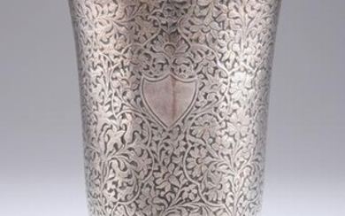 A 19TH CENTURY PERSIAN SILVER GOBLET, unmarked, with