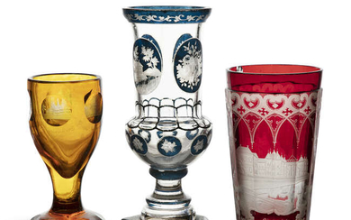 A GERMAN ETCHED RUBY GLASS BEAKER OF FACETED...