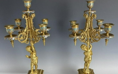 A PAIR OF 19TH C. FRENCH CHAMPLEVE ENAMEL CANDELABRA