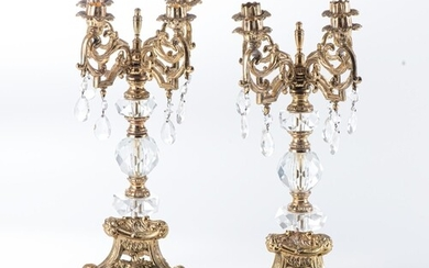 A PAIR OF GILT METAL AND CRYSTAL CANDELABRA