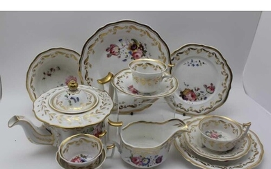 A PART 19TH CENTURY PORCELAIN DINNER SERVICE, hand painted r...