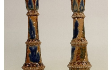 A Pair of Doulton Lambeth candlesticks: Decorated by Arthur ...