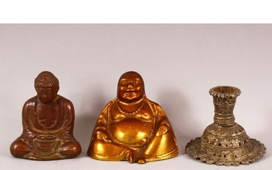 A SMALL BRONZE BUDDHA, together with two other metal items, ...