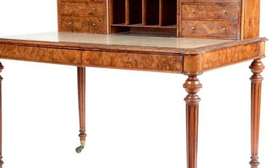 A VICTORIAN WALNUT WRITING DESK BY HINDLEY & SONS, C.1860...