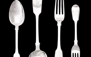 A collection of silver fiddle pattern flatware