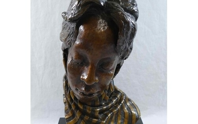 A head study of an African lady wearing a scarf, bronze with...