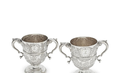 A pair of Irish silver two-handled cups