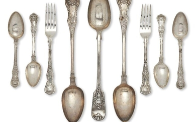 A pair of Scottish silver basting spoons, Glasgow, c.1859, John Murray or John Muir, of Queen's pattern design with M initial to terminals, together with a further basting spoon, London, c.1845, the decorative terminal with armorial to cartouche, a...