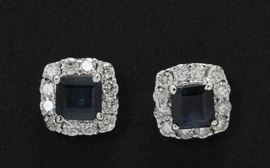 NOT SOLD. A pair of sapphire and diamond ear pendants each set with a sapphire encircled by diamonds, mounted in 14k white gold. (2) – Bruun Rasmussen Auctioneers of Fine Art