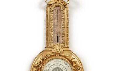 A restauration gilt bronze and steel barometer and thermometer, circa 1825