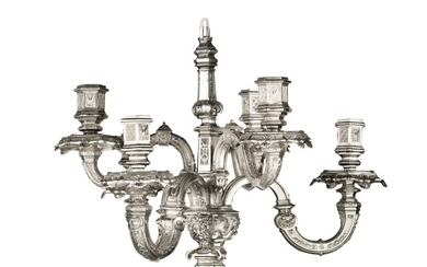 A silver six light chandelier in Regence style, probably France, circa 1880