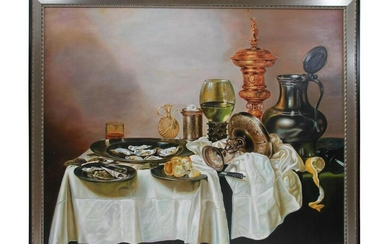 AN OIL ON CANVAS STILL-LIFE AFTER WILLEM C. HEDA