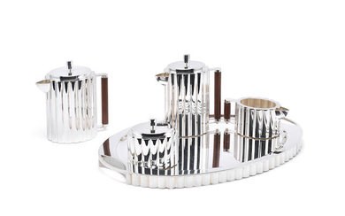 An Italian 'Cannete' design five-piece silver tea and coffee service including tray