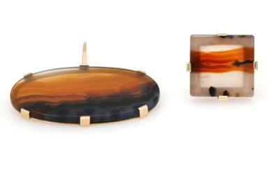 An agate jewellery set comprising a pendant and a ring each set with an agate, mounted in 14k gold. Size app. 51. (2) – Bruun Rasmussen Auctioneers of Fine Art