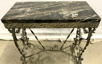 Architectural Victorian Iron Base Table Marble Top