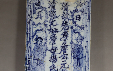 BLUE AND WHITE TILES - China, Qing Dynasty, porcelain.