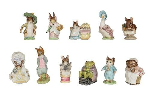 Beswick Beatrix Potter Figures Comprising: 'Lady Mouse', 'Mrs Tiggy Winkle',...