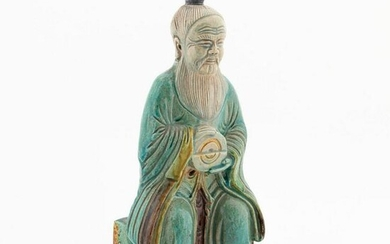 CHINESE TURQUOISE SEATED CERAMIC IMMORTAL FIGURE