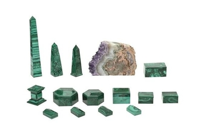 Collection of Malachite Decorative Articles with Geode.