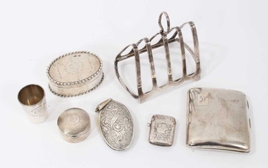 Collection of silver vertu items
