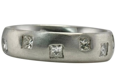 Diamond Ring 18K White Gold Eternity Band .96 DTW