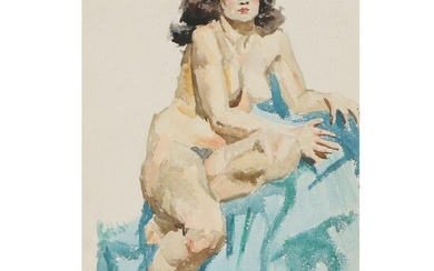 Edmond Fitzgerald Figural Watercolor Painting of Female Nude