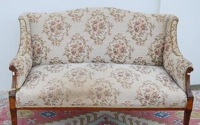 Edwardian mahogany and inlaid parlour sofa with serpentine c...