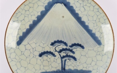 (-), A blue and white porcelain dish, Japan,...