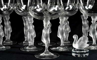 FRENCH FROSTED BACCHANTE STEMWARE AND LALIQUE SWAN