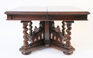 FRENCH GOTHIC REVIVAL CARVED WOOD DINING TABLE