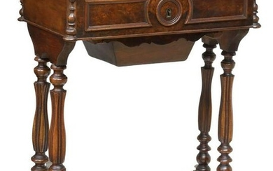 FRENCH LOUIS PHILIPPE FIGURED WALNUT SEWING TABLE