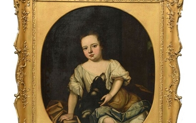 """FRENCH SCHOOL early 19th century. """"Young girl and her dog""""...."""