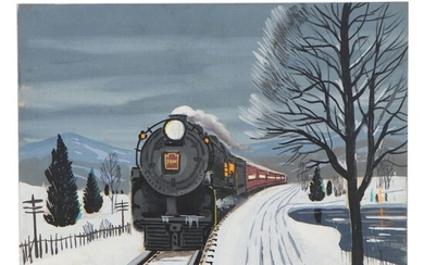 Fred Williams Wintertime Acrylic Painting of Train, Late 20th Century