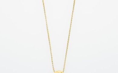 Gold and Diamond Nugget Pendant with Long Chain Necklace