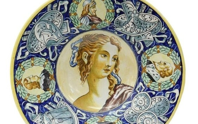 ITALIAN MAJOLICA CHARGER W/ MUSICAL TROPHIES