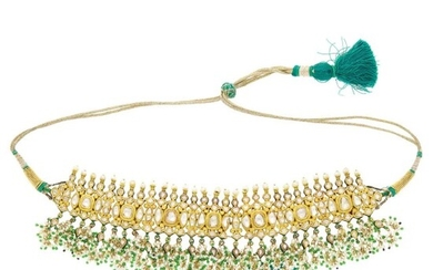 Indian High Karat Gold, Jaipur Enamel, Foil-Backed Diamond, Seed Pearl and Glass Bead Fringe Necklace with Cord