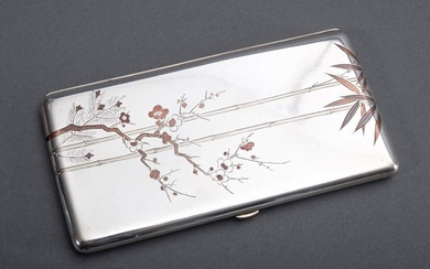 "Large Japanese cigarillo case with floral metal inlays ""bamboo and..."