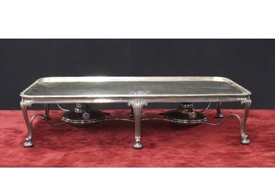 Large silver plated hot plate serving stand, with engraved c...