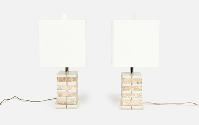 Modern, Stacked Lucite Table Lamps (2)